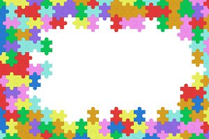 Colorful jigsaw puzzle blank template, pattern texture background with white space in the middle, 3d illustration