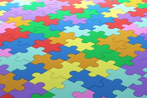 Colorful jigsaw puzzle pattern texture background, Close up. 3d illustration