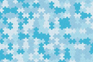 Blue jigsaw puzzle blank template, pattern texture background, 3d illustration
