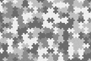 Grey jigsaw puzzle blank template, pattern texture background, 3d illustration