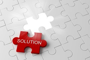 White jigsaw puzzle piece with a glowing hole with solution word in business concept, 3d illustration
