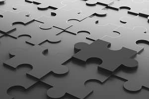 Black jigsaw puzzle, pattern texture background in business concept. 3d illustration