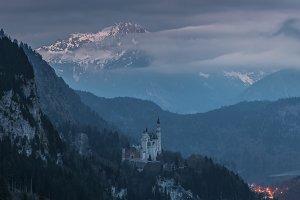 Neuschwanstein castle in twilight