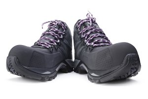 Hiking boots on white