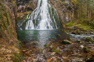 Waterfall Gollinger in mountains