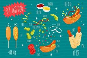 Set Hot dog. Vector illustration