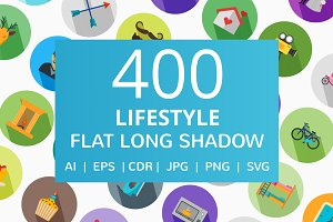 400 Lifestyle Flat Long Shadow Icons