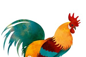 painted Rooster with clipping path