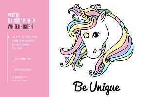 White unicorn. Ai, EPS, PNG