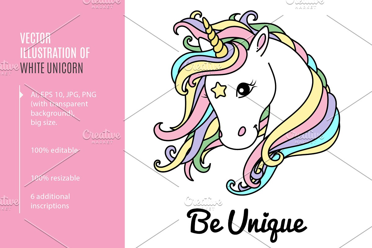 a6bf0cf3 White unicorn. Ai, EPS, PNG ~ Illustrations ~ Creative Market