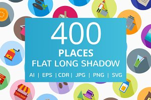 400 Places Flat Long Shadow Icons