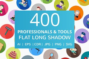 400 Professionals & Tools Flat Icons