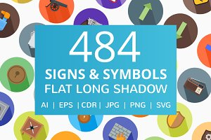 484 Signs & Symbols Flat Icons