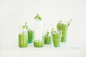 Matcha green vegan smoothie with chia seeds and fresh mint