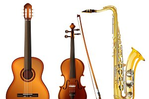 Realistic Musical Instruments Set