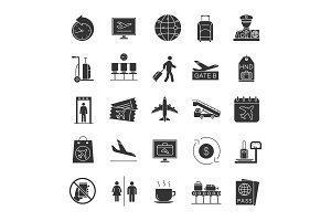 Airport service glyph icons set