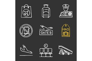 Airport service chalk icons set
