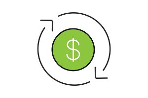 Dollar currency exchange color icon