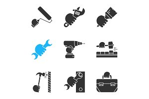 Hands holding instruments glyph icons set