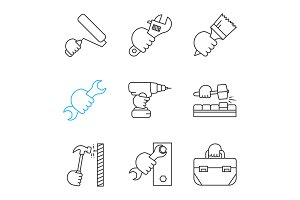 Hands holding instruments linear icons set