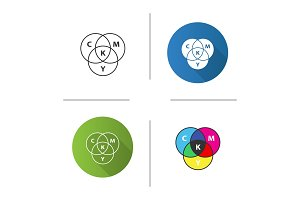 CMYK circle model icon