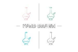 Bong hand drawn icons set