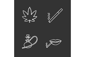 Smoking chalk icons set
