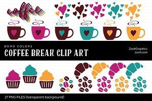 Coffee Break Boho Colors Clip Art