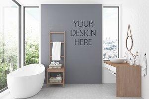 Interior mockup bathroom background