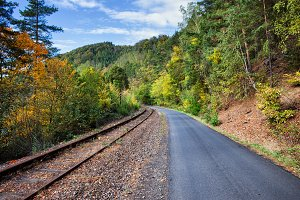 Country Road And Old Railway Track