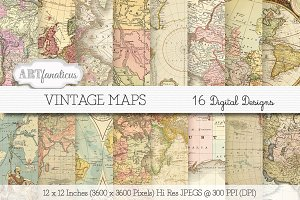 VINTAGE MAPS Digital Paper Designs