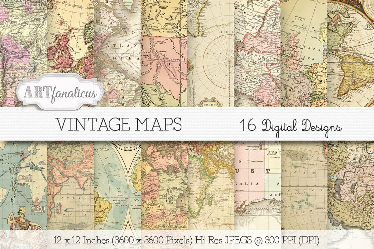 Vintage Maps Digital Paper Designs Custom Designed Illustrations