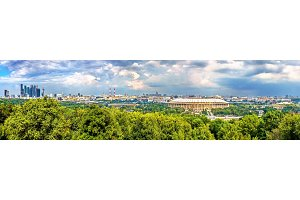 Panorama of Moscow with Luzhniki Stadium and Moscow City Business District