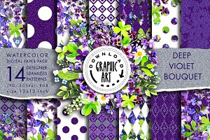 Deep Violet Bouquet Digital Pattern