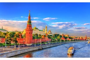 View of Moscow Kremlin and the Moskva River, Russia