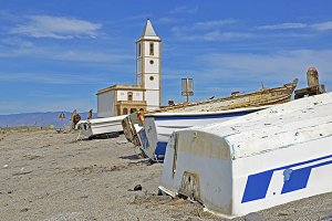 Church and fishing boats in the Mediterranean