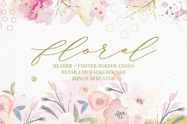 Illustrations and Illustration Products: LW Brand Styling - Floral Background Edges & Patterns