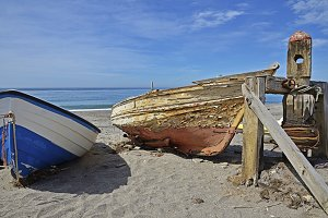 Old boats on the beach