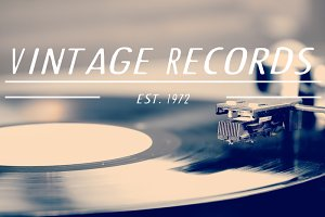 Vintage Records Logo Vector & PSD