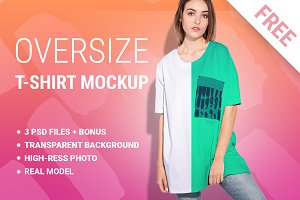 Woman oversize t-shirt mockup set
