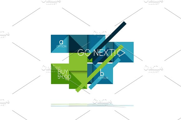 Square option infographic banner. Data and information visualization, geometric design