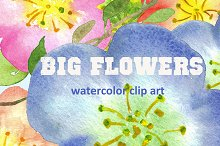 Big Flowers watercolor clip art