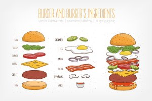 Burger and burger's ingredients