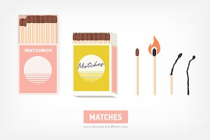 Matchbox and pair of wooden matches