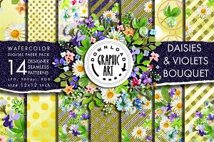 Digital Pattern Daisies Violets