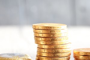 Stacks of golden coins. Business or finance concept.