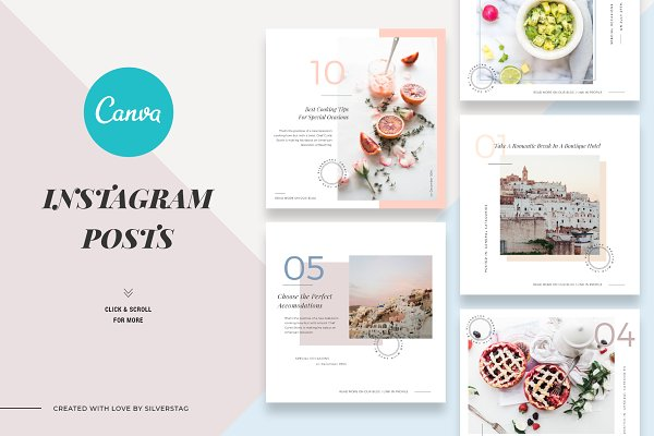 Templates - CANVA Food & Travel Instagram Posts