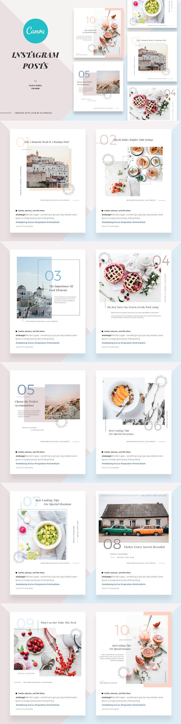 CANVA Food & Travel Instagram Posts in Instagram Templates