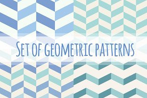 Set of blue geometric patterns