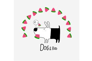 Dog & Bird eating Watermelon